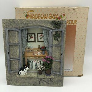Cat Shadow Box Wall Paque Home Decor Hanging Art